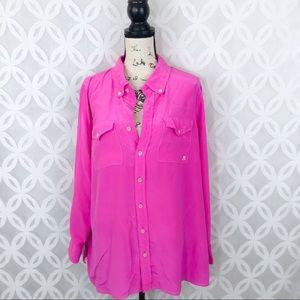 Bob Mackie Hot Pink Button Down Silk Blouse